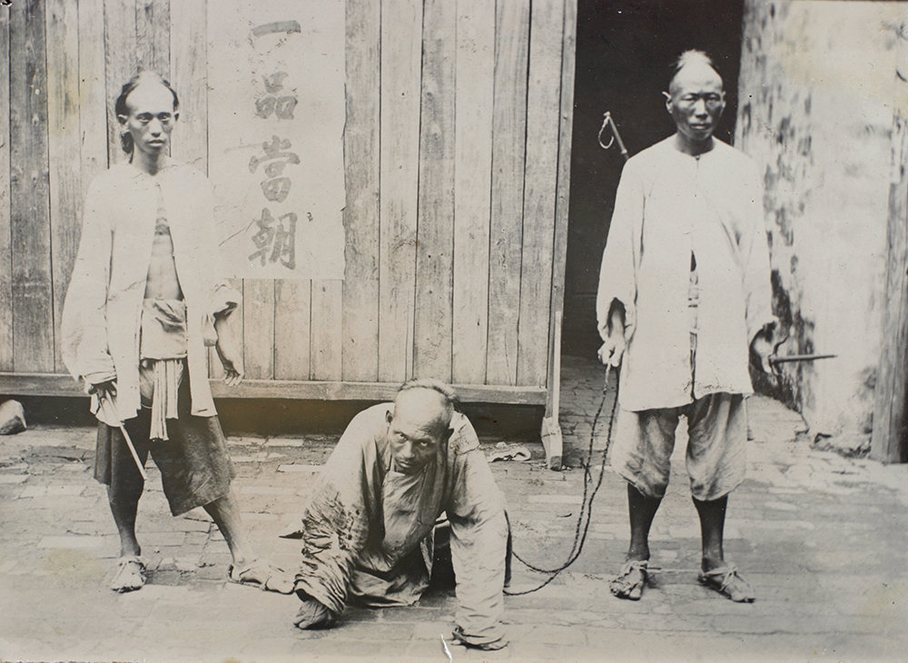 Chinese guards with forked maces