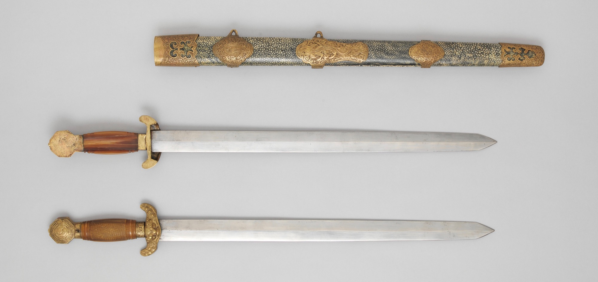 Antique Chinese double swords in the Metropolitan Museum