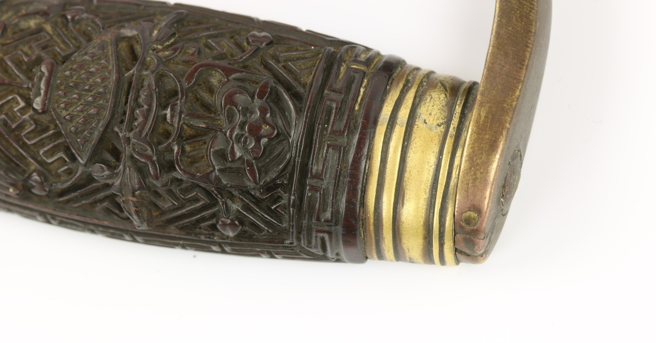 A set of antique Chinese butterfly swords or hudiedao