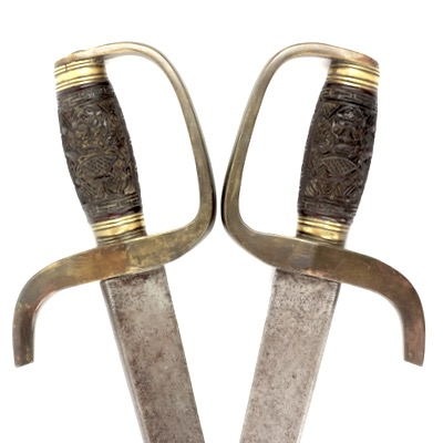 A very good set of Chinese double butterfly swords or hudiedao