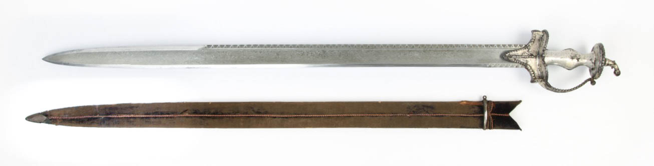 A large Indian backsword with mechanical damascus steel blade.
