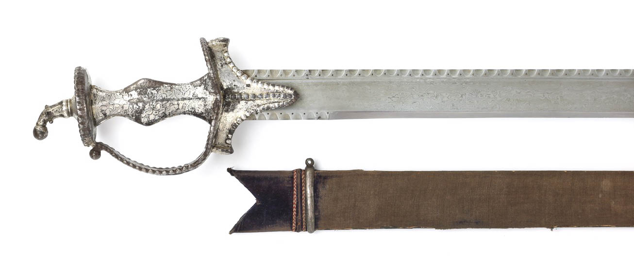 A large Indian backsword with mechanical damascus steel blade