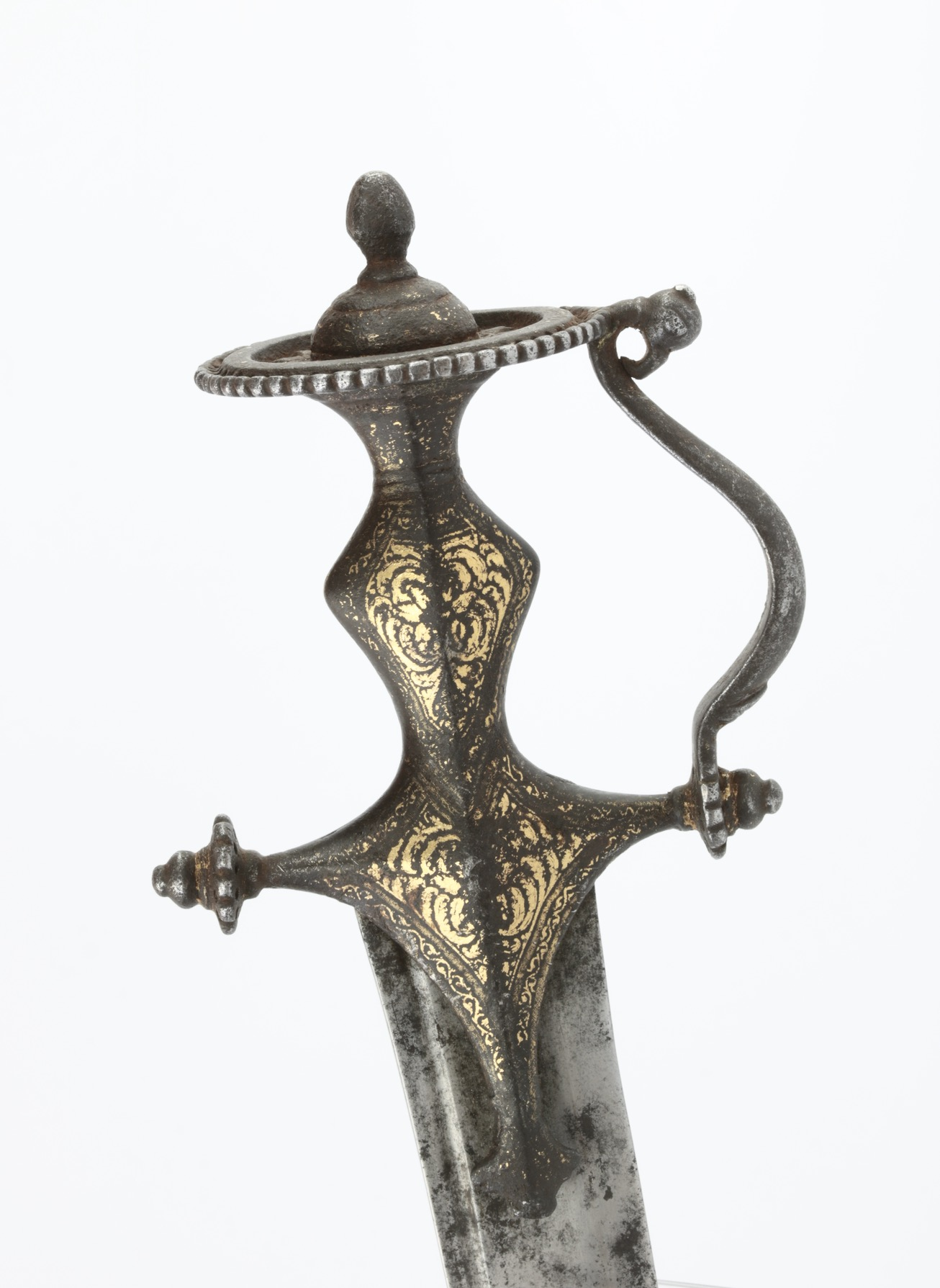 An Indian talwar with pierced iron hilt in the southern style