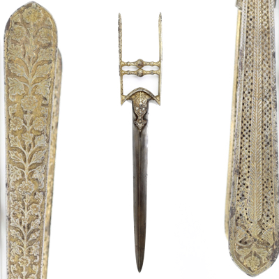 A very rare type of katar with two different forms of decoration.