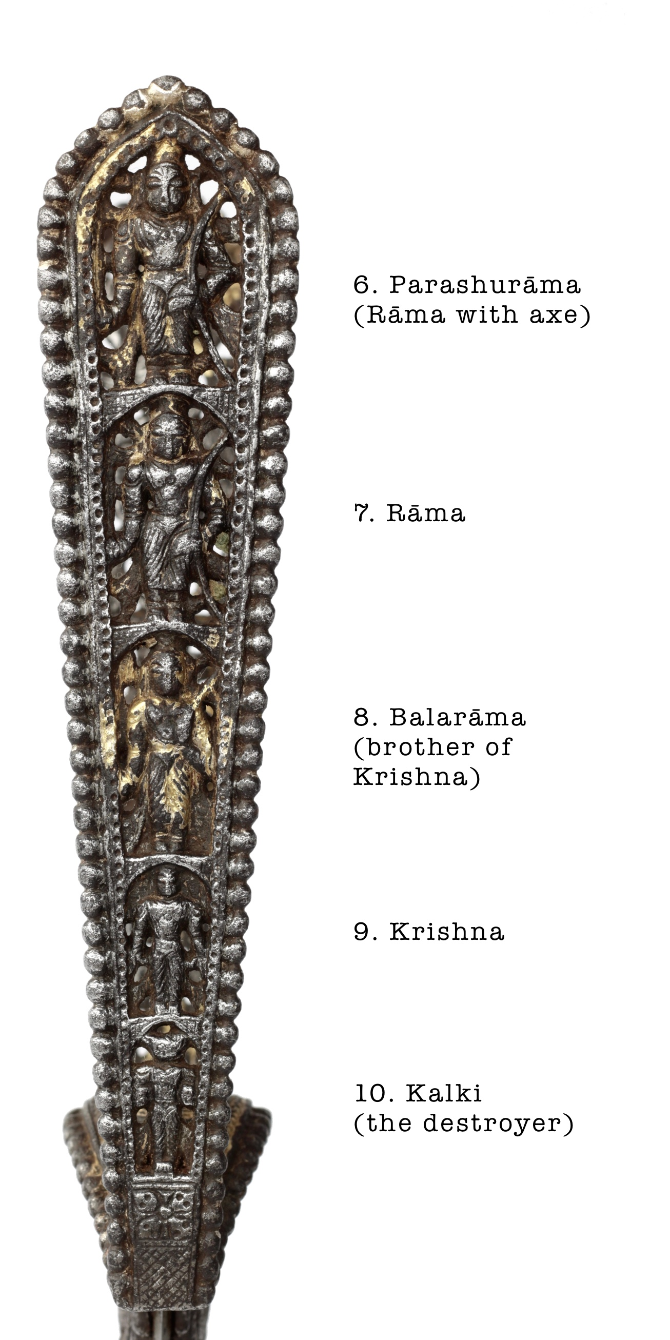 The avatars of Vishnu on an antique katar from the Tanjore armory.