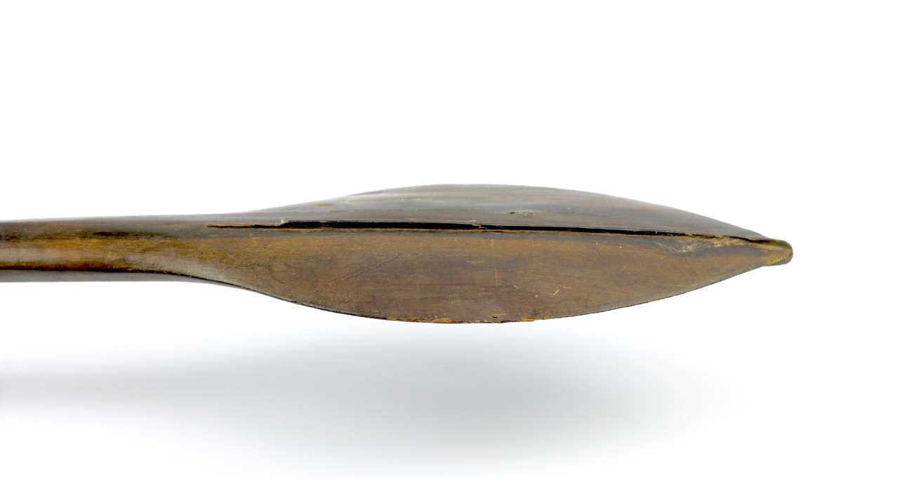 A war club from the Solomon island, of paddle shape which is typical for those found on the island of Nggela, also known as Florida island, in the center of the archipelago.