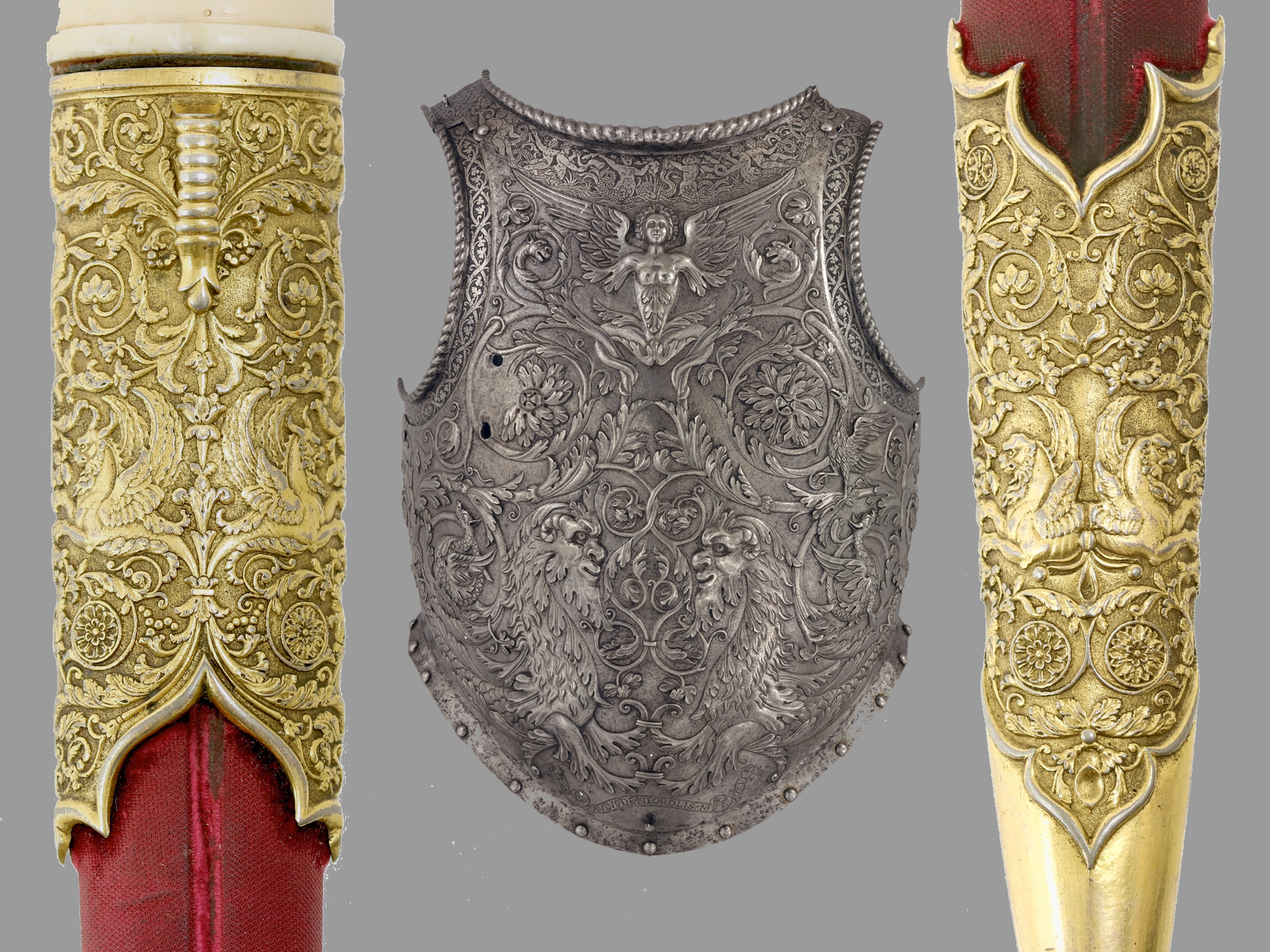 Comparison between Ottoman style dagger and Milanese renaissance breastplate