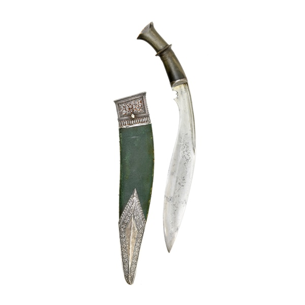 Fine Nepalese kukri or khukuri with silver mounts logo