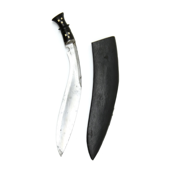 Khukuri with inlaid hilt logo