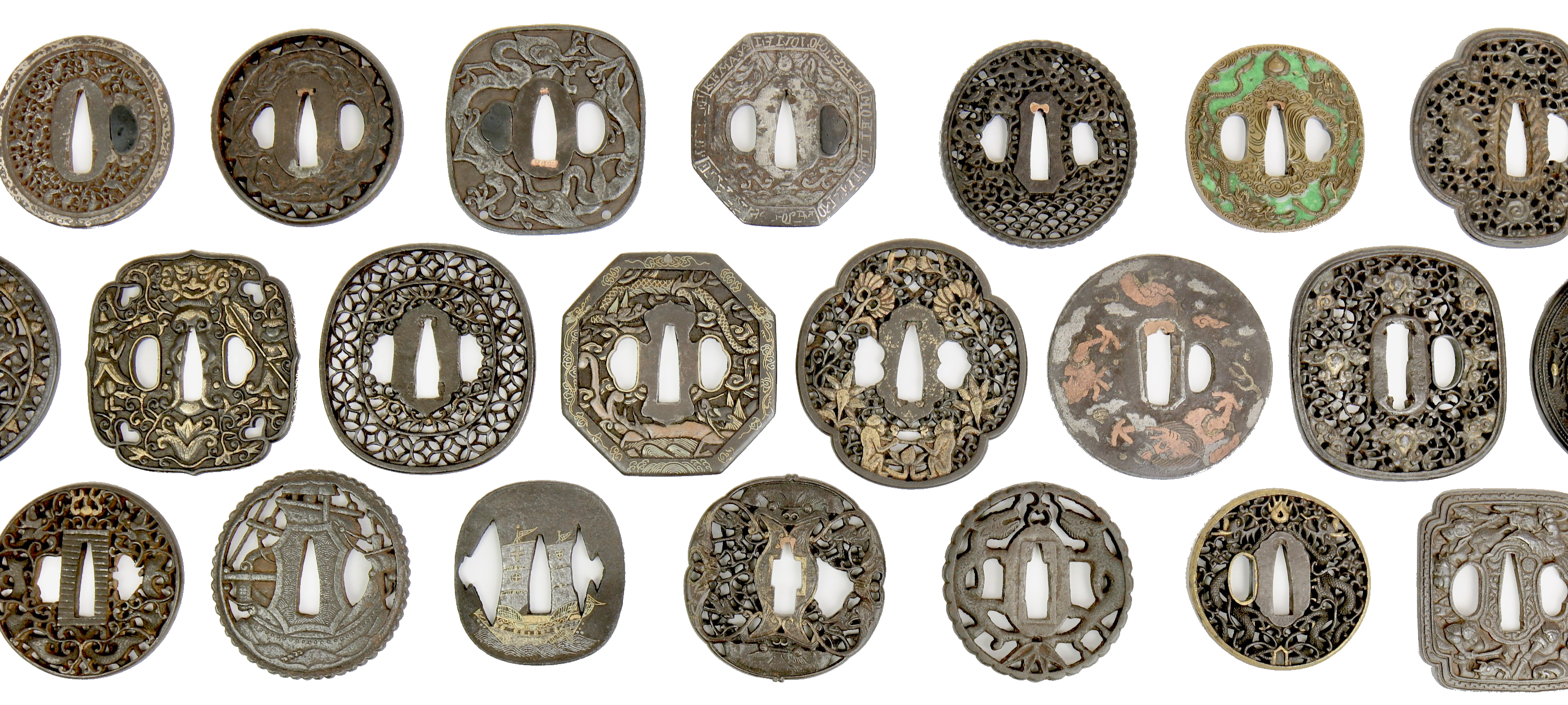 Group of Asian export sword guards