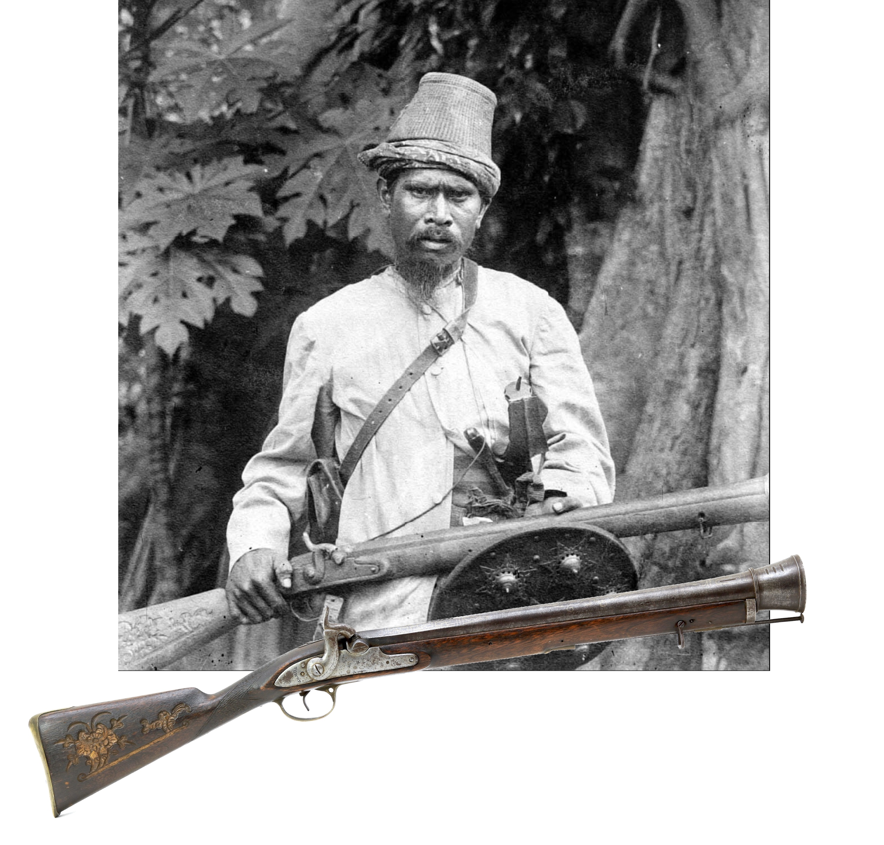 Aceh warrior with blunderbuss