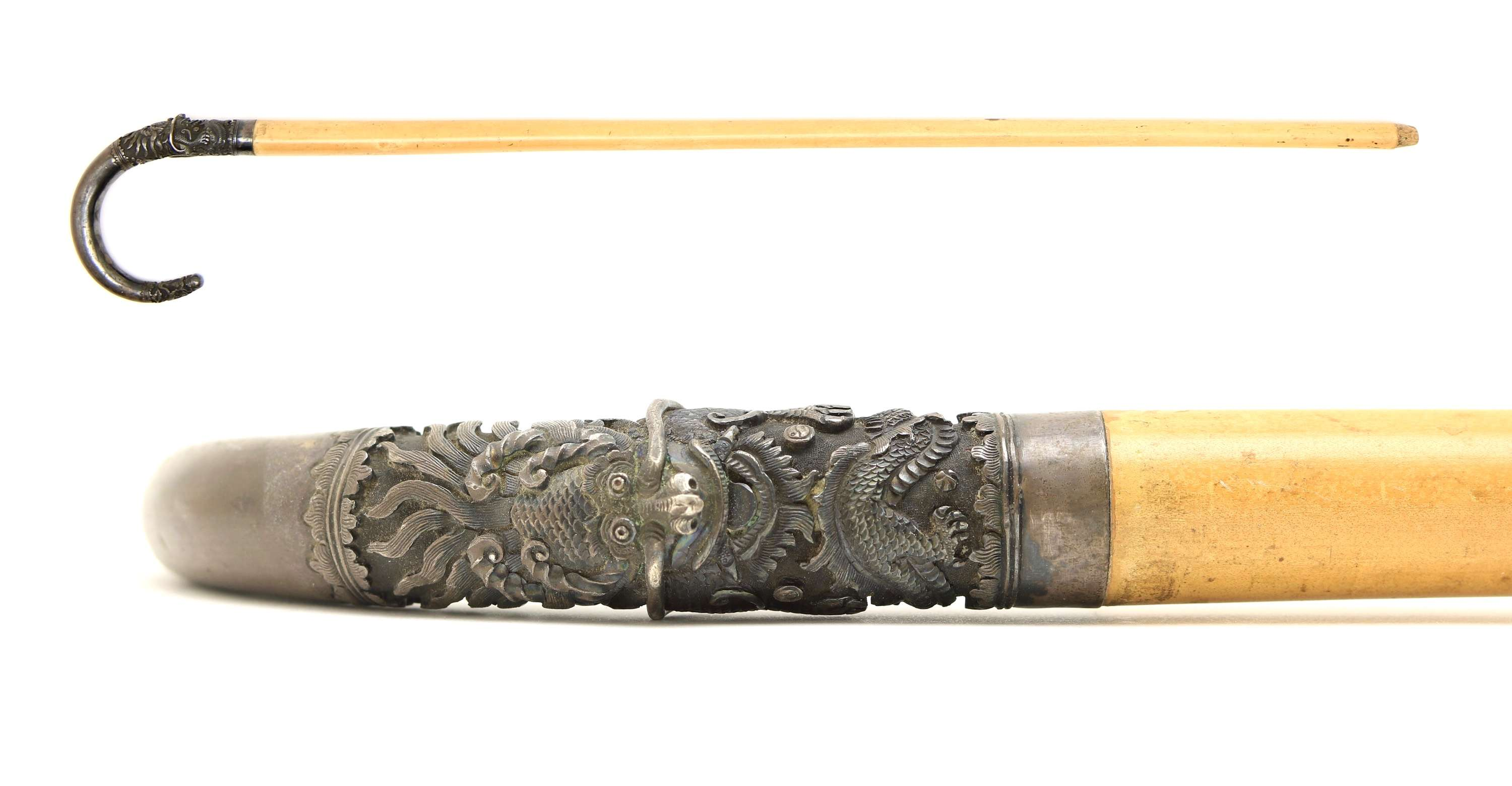 Vietnamese crook handle cane with silver handle