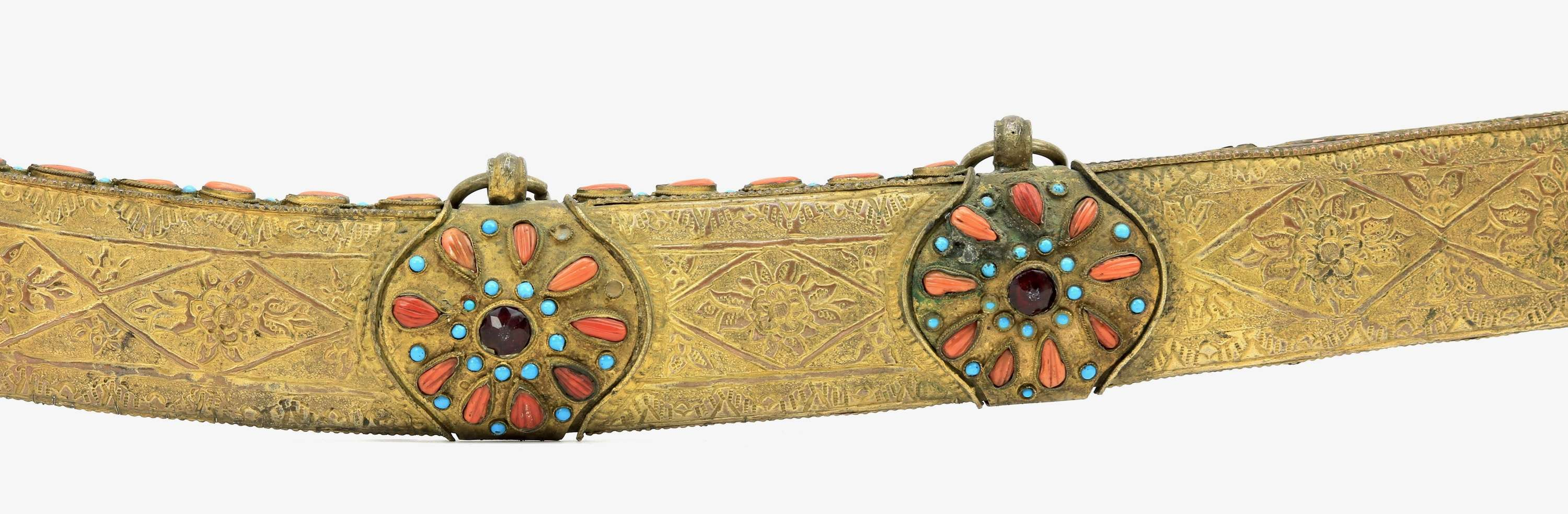 Ottoman pala beset with coral and turquoises