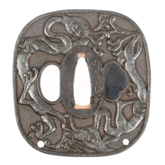 Unusual dragons tsuba